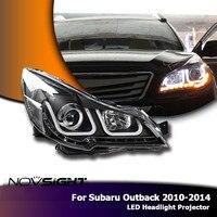 NOVSIGHT 2 шт. Автомобильный свет в сборе проектор фары DRL противотуманная светодиодный Subaru Outback 2010 2014