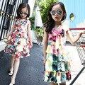 Vestido de Chiffon Em Camadas para Meninas Crianças Vestido de Verão 2016 Bohemian Beach Dress Flor Patterned Roupa Das Meninas do Vestido Das Meninas Adolescentes