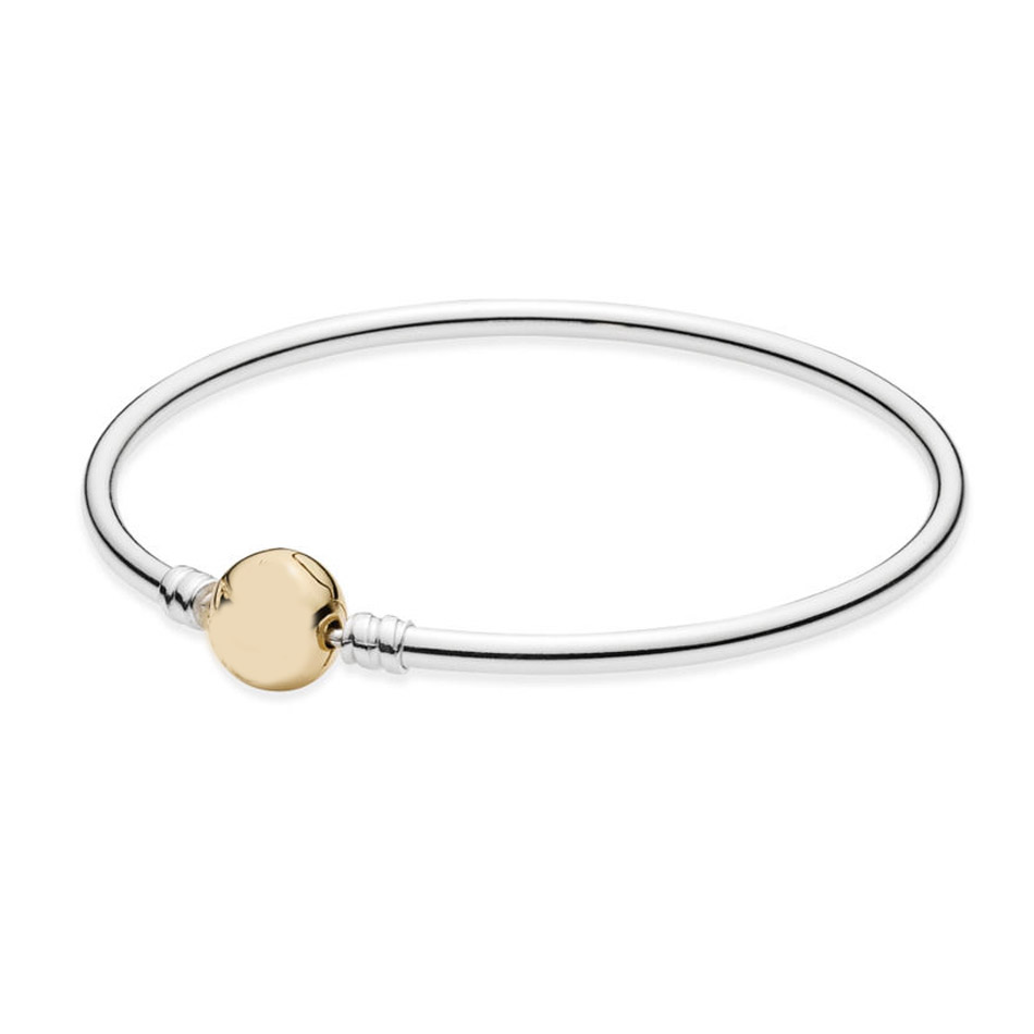 Authentic 925 Sterling Silver Bracelet with Gold Colour Signature Clasp fit Lady Bead Charm Pendant Dangle Girl Gift BangleAuthentic 925 Sterling Silver Bracelet with Gold Colour Signature Clasp fit Lady Bead Charm Pendant Dangle Girl Gift Bangle