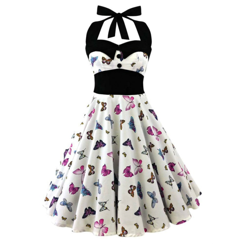 ETOSELL Store 1950s 60s 5XL plus size skull printed dress women punk strapless halter party dresses bowknot self gothic dress clothing swing