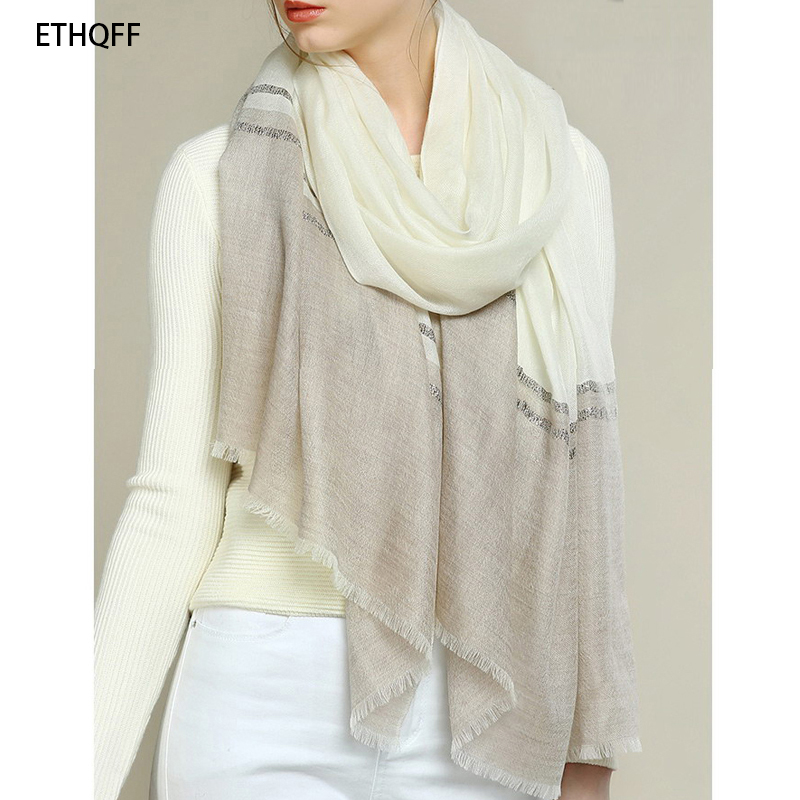 ETHQFF winter 100% cashmere scarf luxury brand gold and silver cashmere scarf, cashmere scarf women, Oversized Large Scarf Shawl