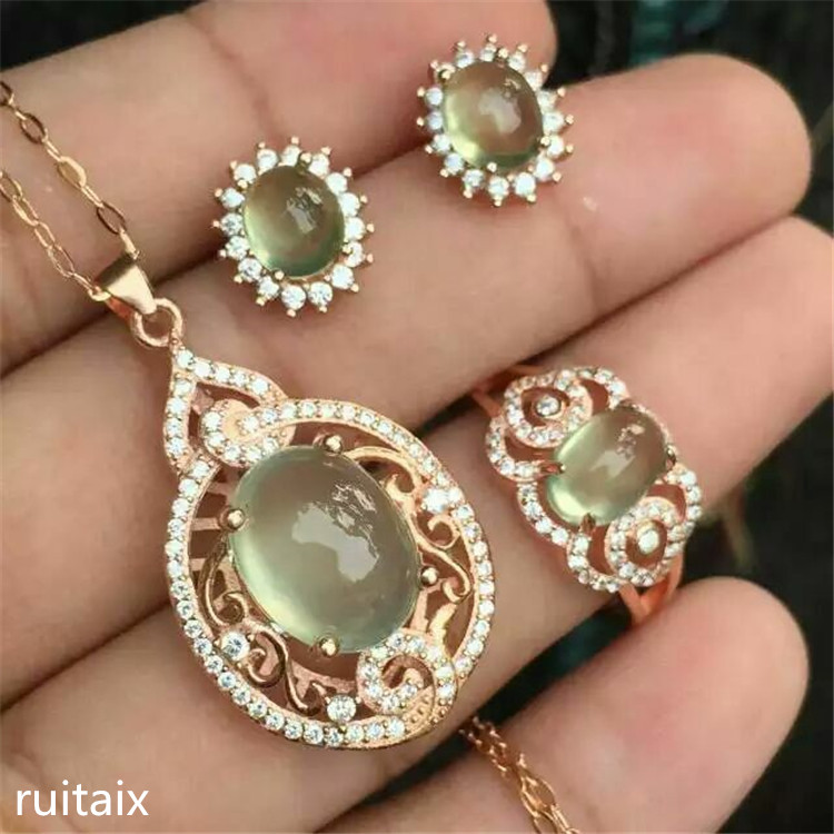 KJJEAXCMY boutique jewels 925 Pure silver setting natural crystal grape water tender grape vine stone lady pendant ring earrings pure natural tender grape stone ring set 925 sterling silver inlay