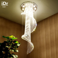 New Stairs spiral staircase lamp modern minimalist villas long the House floor large living room crystal Ceiling lamps