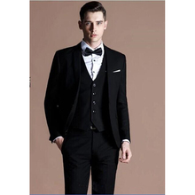 New Custom costume homme 2017 black Groom men suit Tuxedos terno Groomsmen Wedding business mens Suits( jacket+Pants+vest+tie)
