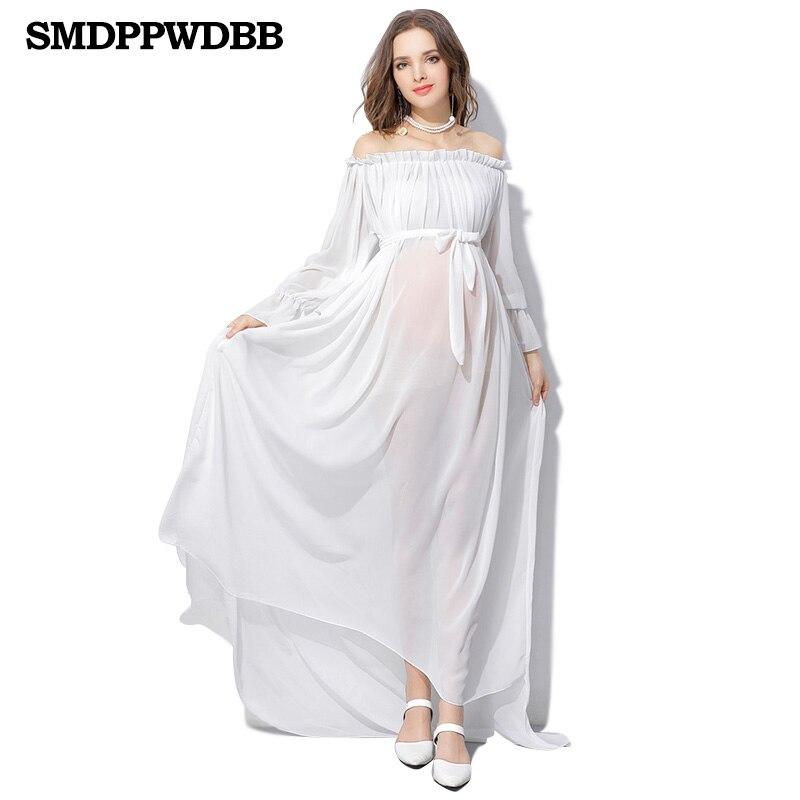 SMDPPWDBB व्हाइट मैटरनिटी ड्रेस मैटरनिटी फोटोग्राफी प्रॉप्स प्रेग्नेंसी शिफॉन ड्रेस फोटो शूट प्लस साइज़ लॉन्ग मैक्सी ड्रेस
