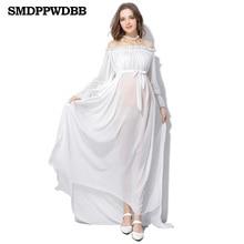SMDPPWDBB White Maternity Dresses Maternity Photography Props Pregnancy Chiffon Dress Photo Shoot Plus Size Long Maxi Dress