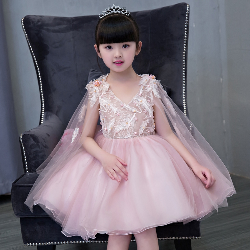 Flower Girl Dresses Ball Gown Beading Kids Dresses for Girls Pageant Dress for Party Birthday Sleeveless V-neck Princess Dress fashionable v neck sleeveless pure color mini dress for women