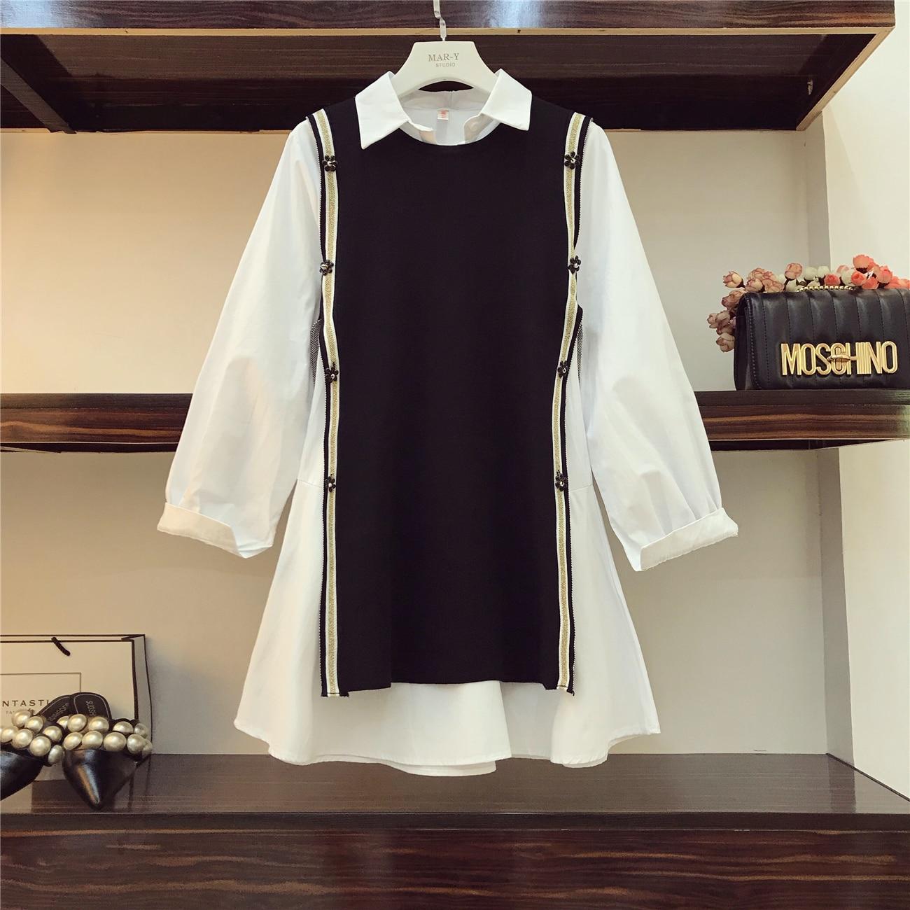 2018 Autumn Women's New Loose Long Shirt Dress + Knitted Vest Two-Piece Dress Sets Student Vestidos Dress Suit