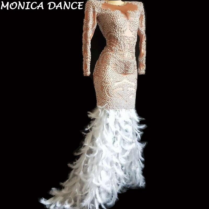 Sexy delle donne di Perle Strass Abito di Piume Bianco delle Donne Festa di Compleanno Celebrare Vestito Femminile Cantante Costume di Scena Mostra il Vestito