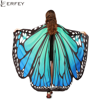 LERFEY Women Scarf Beach Pashmina Butterfly Wing Cape Shawl Wrap Gifts Novelty Print Scarves Gradient Color Poncho Pashminas chiffon children butterfly wing design cape