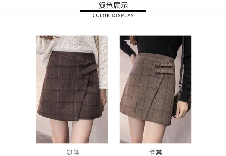 ee662c4c1 2019 Autumn Winter Women Plaid Skirt New High Waist Woolen Skirts ...