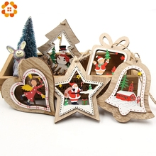 3PCS/Lot DIY Cute Christmas Bell&Star&Tree Wooden Pendants Ornaments For Home Party/ Xmas Tree /Kids Gifts Decorations