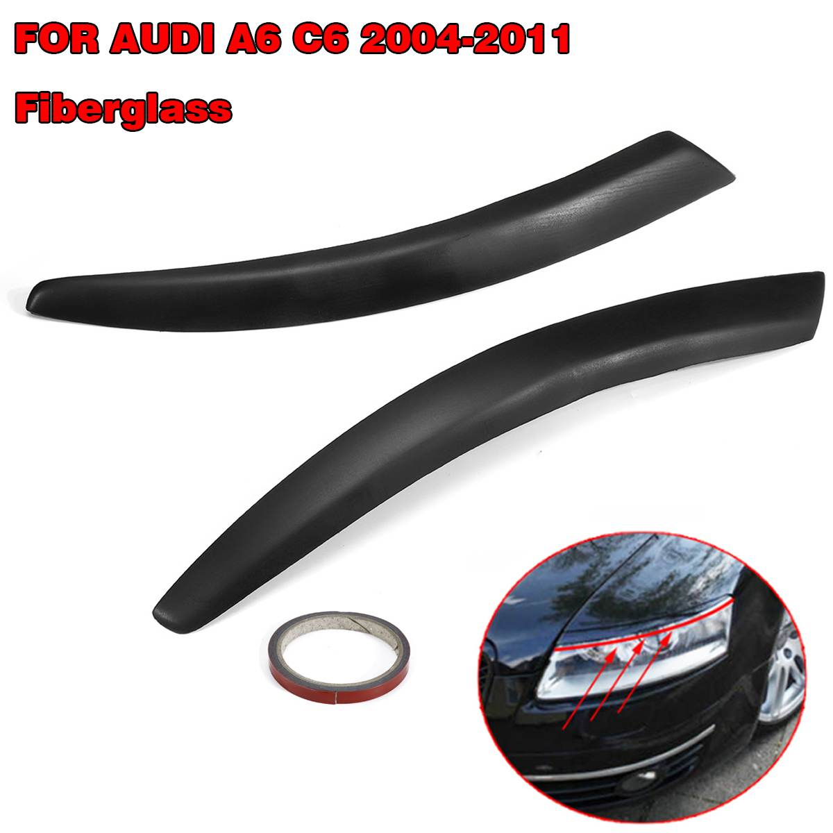 Pair Car Headlight Eyebrow Cover Trim Sticker Fiberglass Head Lamp Eyelid Auto Accessories For Audi A6 C6 2004 2011-in Car Stickers from Automobiles & Motorcycles