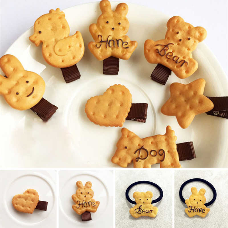 2Pcs Cookies Shape Elastic Cute Simulated Biscuit Cartoon Hair Clip Girls Headbands Hairpins Baby Girl Hairclips Hair Bands