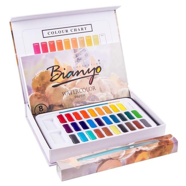 Bianyo 30 Цвет Professional художник Твердые набор акварельных красок Aquarelle воды торт с водой кисточки 8 простыни воды цвет бумага