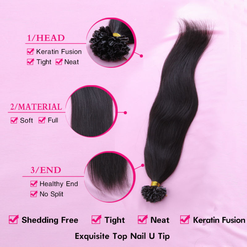 Aliexpress Alivera 7a Pre Bonded U Tip Hair Extension 1g 100 Strands Nail Tips Keratin Fusion Straight Remy Brazilian Human Extensions From
