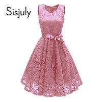 Sisjuly women dress summer lace bowknot a line v neck party dresses sleeveless knee length elegant dress women swing dress 2018