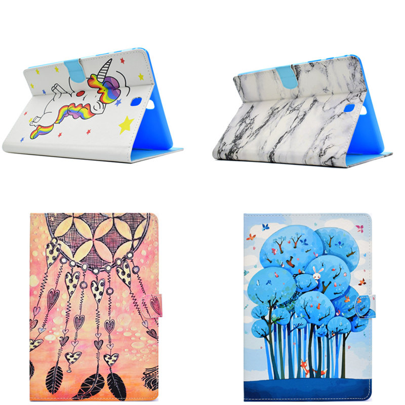 Stand PU Leather Case For Samsung Galaxy Tab A 9.7 inch SM T550 T555 P550 P555C T555C Beautiful Painted Slim tablet Cover fashion painted flip pu leather for samsung galaxy tab a 10 1 sm t580 t585 t580n 10 1 inch tablet smart case cover pen film