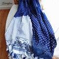 2017 bufandas del diseñador mujeres de la alta calidad Azul pequeño algodón Floral bufanda femenina, chal Con flecos sombrero hijab D004 185 cm x 110 cm