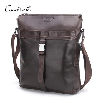 CONTACT'S Genuine Leather Men Bags Hot Sale Male Messenger Bag Man Fashion Crossbody Shoulder Bag Men's Travel New 2018 Bags