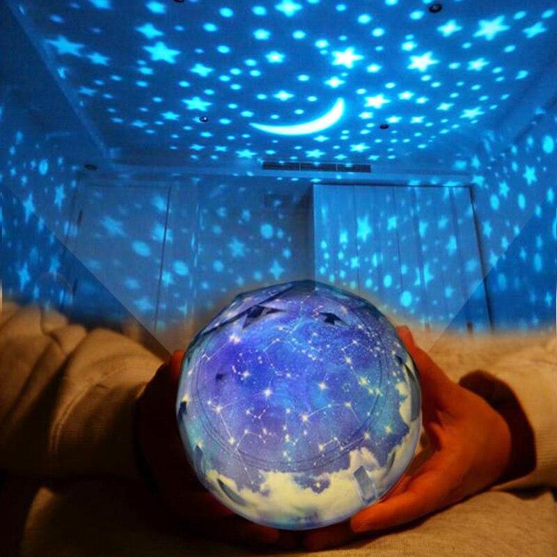 3D ciel étoilé rotation LED veilleuse 3 couleur changement projecteur terre lune Constellation enfants enfants apprendre lampe de chevet