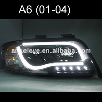 For Audi A6 LED Strip head lamp 2002 2004 year Black Housing SN