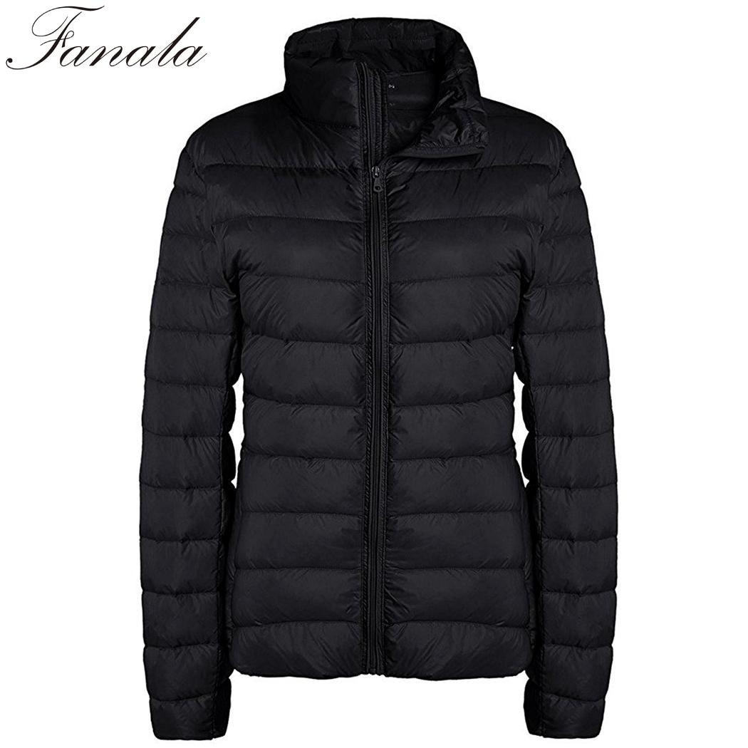 FANALA Autumn Winter Warm Coat Ultralight Down Jacket Casual Stand Collar Duck Down Jacket Outwear Windproof   Parka   2018 Russia