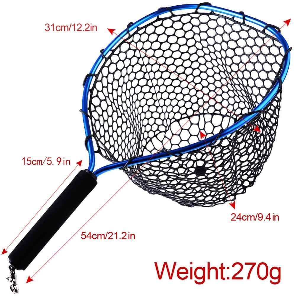 Sougayilang plegable mosca pesca Brail azul suave de goma de la red de aterrizaje 54x30x24cm Eva manejar mosca barato redes de pesca aparejos de pesca