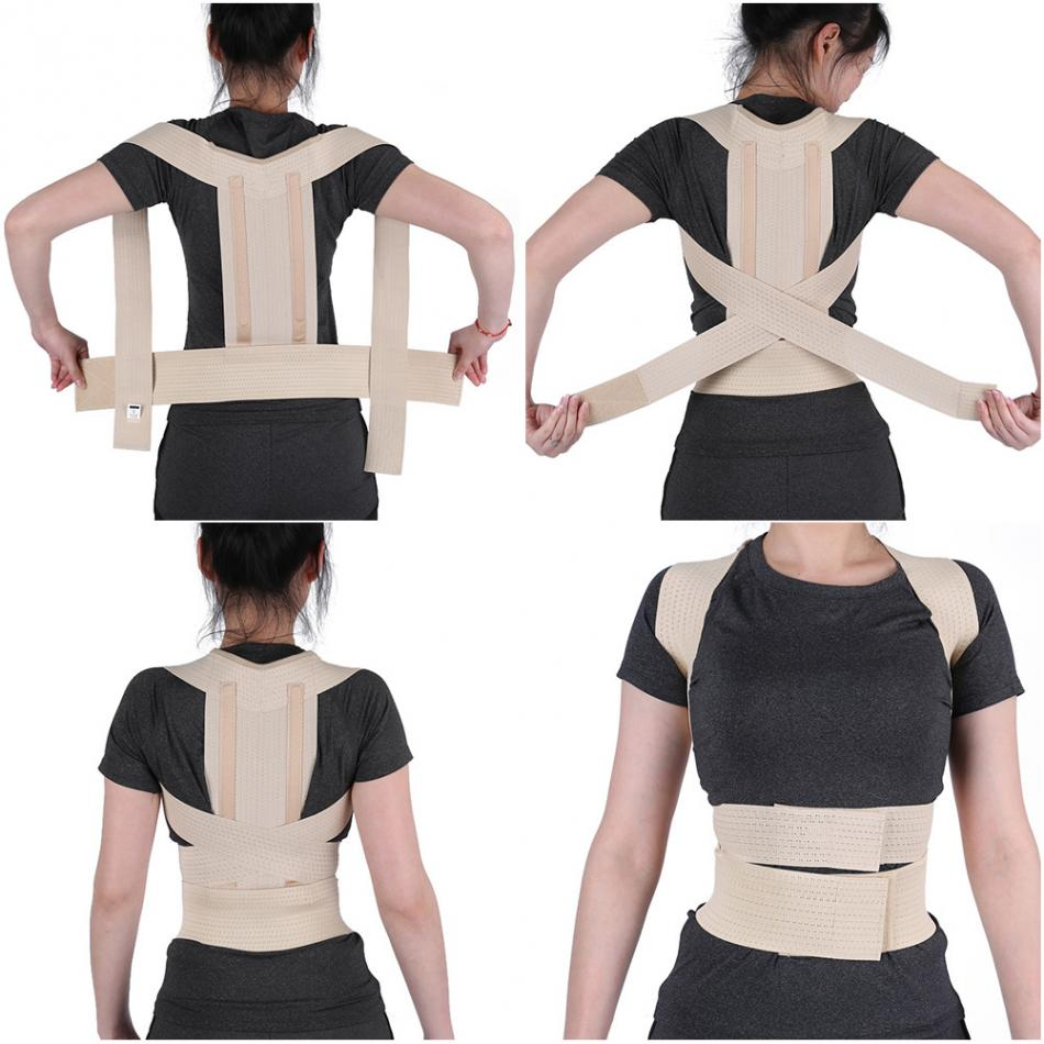 Ortopedia Corrector de postura Brace columna apoyo cinturón de los hombres y las mujeres hombro Lumbar volver corsé ortopédico postura corrección cinturón