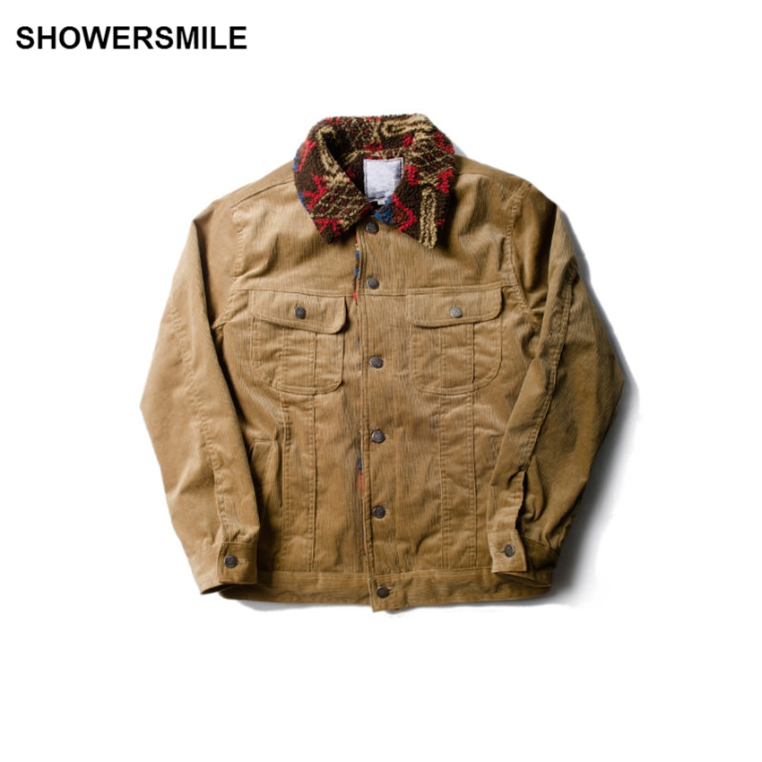 SHOWERSMILE Tribal Print Mens Corduroy Jacket With Pockets Autumn Thick Button Yellow Man Coat Vintage Clothing Casaca Hombre