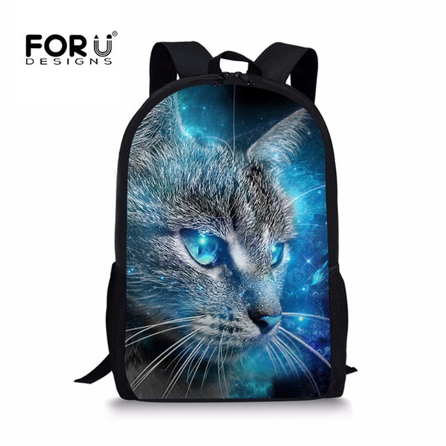 0a50c7eabc6 FORUDESIGNS Children School Bags for Girls Cute 3D Galaxy Cat Prints  Teenager Simple Primary Backpacks Students Satchel New 2018