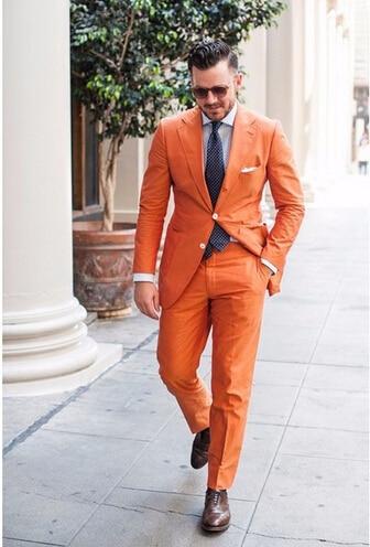 Custom Made Handsome Orange Groom Tuxedos Groomsman Wedding Blazer Man Prom Suits Jacket Pants
