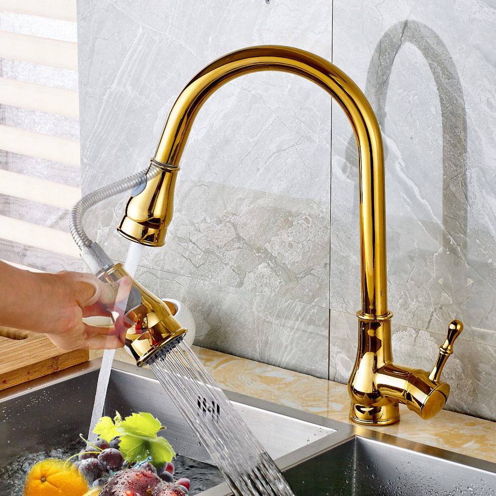 Kitchen Faucet Brass Black Bronze/Chrome/Nickel Brushed/Gold High Arch Kitchen Sink Faucet Pull Out Rotation Spray Mixer Tap xoxo kitchen faucet brass brushed nickel high arch kitchen sink faucet pull out rotation spray mixer tap torneira cozinha 83014