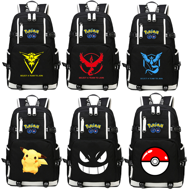 Game Pokemon GO Pocket Monste pikachu Charizard Backpack Canvas print men women backpack Bag Travel bag rucksack cartoon pokemon go purse pocket monster pikachu johnny turtle ibrahimovic zero wallets pen pencil bags boy girl leather wallet