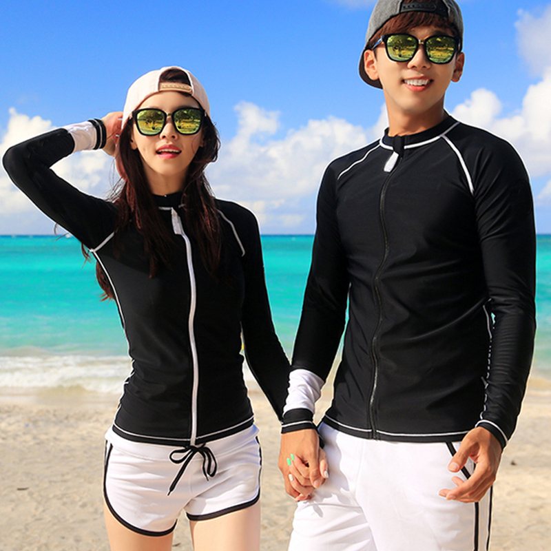 Couples Rash Guard Men Women Long Sleeves Shirt Shorts Lovers Surfing Clothing Solid Black And White
