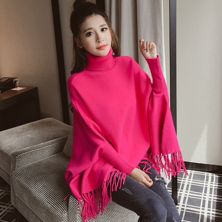 Women Turtleneck Pullover Sweaters Knitwear Lady Knitting Clothes Fashion Hem Tassel Bat Sleeve Knit Long Pullovers Top Casual