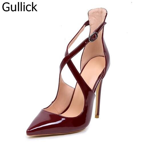Hot Selling Women Wine Red Black Patent Leather Pointed Toe Pumps Summer Fashion Crossed Buckle Strap High Thin Heel Shoes цена