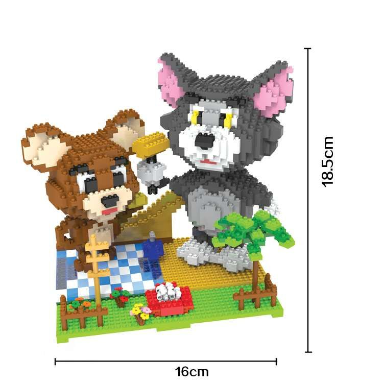 HC Magic Blocks Tom and Jerry Big size Building Blocks Anime Plastic Bricks Cartoon Mini Action Toys Toys Kids Xmax Gift 9008 1500 2200 pcs big size plastic cute cartoon designs of mini nano blocks diamond mini block toys for children diy game