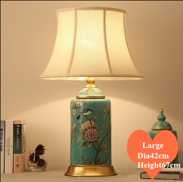 Chinese rural blue flower bird ceramic large Table Lamps Vintage fabric shade copper base E27 LED lamp for bedside&foyer MF043