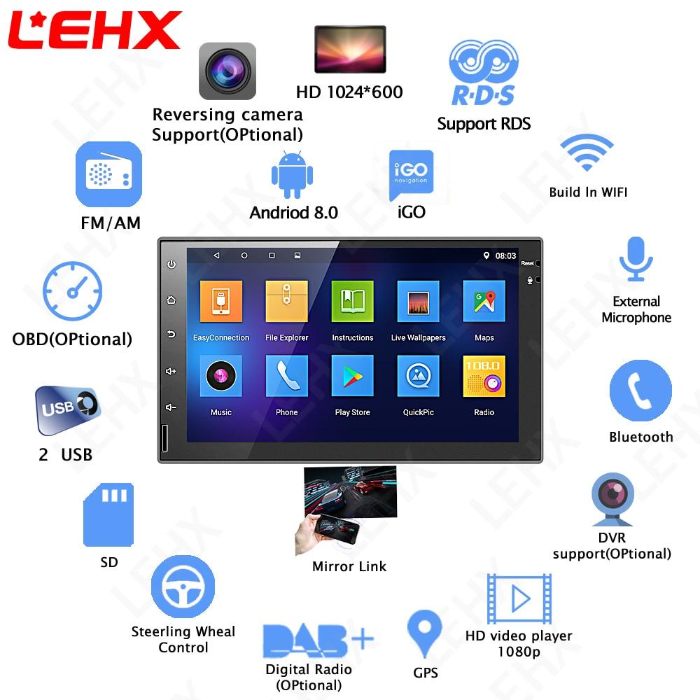 LEHX 2 din voiture Android 8.0 GPS Navigation Bluetooth Pour Nissan VW Toyota Peugeot WiFi Multi-Médias 7 pouce autoradios Lecteur RDS