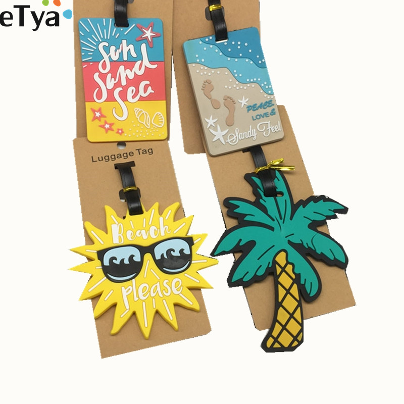 eTya Luggage Tag Silicone Cartoon Cute Fruits Food Beach Style Suitcase Tags Name Address Holder Baggage Boarding Tags Label wulekue rectangle aluminium alloy luggage tags travel accessories baggage name tags suitcase address label holder
