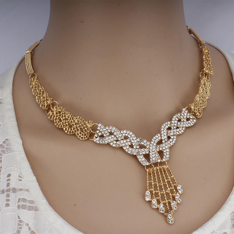 JIAYIJIADUO Dubai Jewelry Set for Women Wedding Dress Accessories Necklace Earrings Bracelet Ring Set 5PS