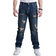 HOT men ripped jeans fashion 2015 new plus size 30-46 biker motorcycle denim hip hop pants  pantalones vaqueros hombre