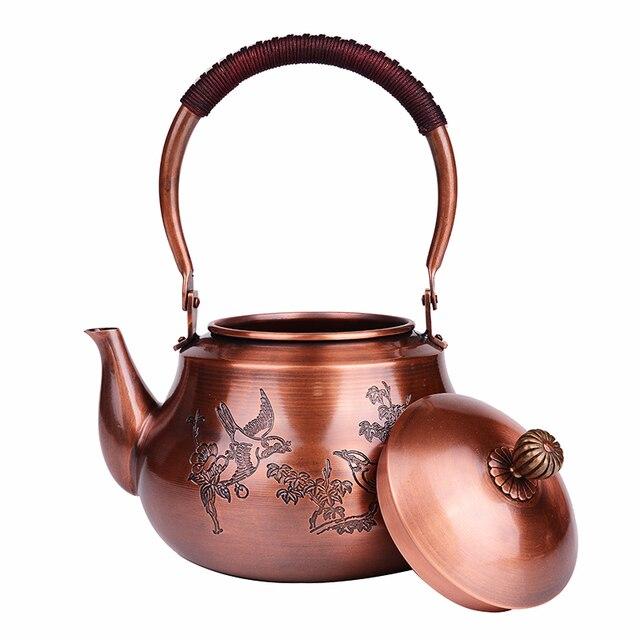 1.2L handmade red copper teapot glass samovar ceramic enameled from clay enameled kettle metal puer green tea gift Japanese