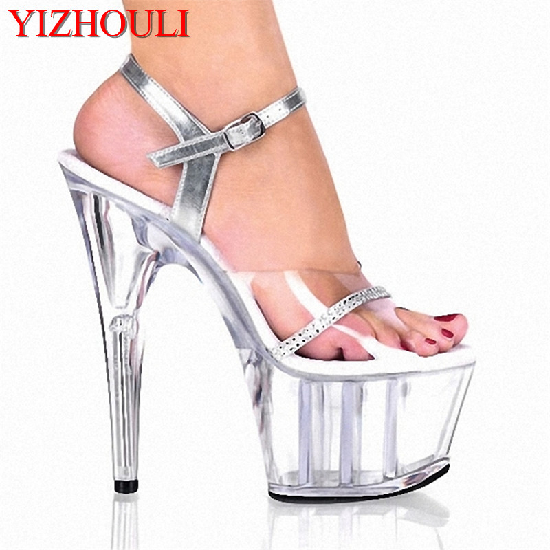 Silver belt Sexy 15 CM High-Heeled Sandals Nightclub Dance Shoes Pole Dancing Shoes Model High Heels Womens ShoesSilver belt Sexy 15 CM High-Heeled Sandals Nightclub Dance Shoes Pole Dancing Shoes Model High Heels Womens Shoes