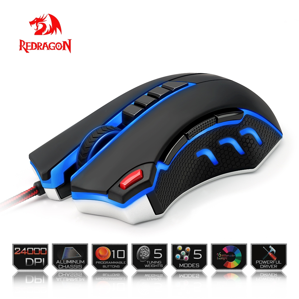 Redragon Gaming Mouse PC 24000 DPI 9 programmble buttons ergonomic design high-speed USB Wired for Desktop mouse dare u wcg armor soldier 6400dpi 7 programmable buttons metab usb wired mechanical gaming mouse