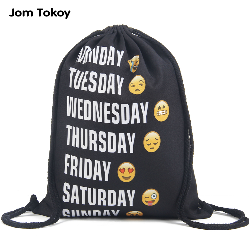 2016 new fashion Women Emoji Backpack 3D printing travel softback women mochila drawstring font b bag