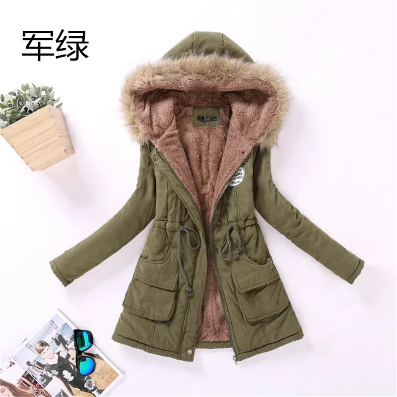 2017 Women Casual Thick Warm Hooded Wool Liner Plus Velvet Cotton for Women Outwear Silm Parkas