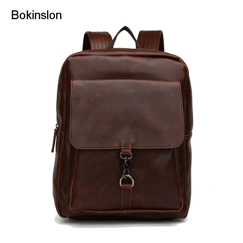 Bokinslon populaire hommes sacs à dos petit frais PU cuir mâle sac à dos sacs mode rétro homme sacs pratiques