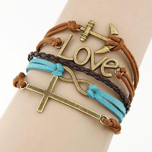 Charm Vintage Multilayer Charm Leather Bracelet Women Owl Cross Believe Bracelets Cheap Statement Jewelry Lady Best Friends Gift